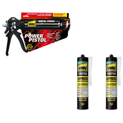 Pack UHU Power pistol - 2 cartouches colle Mastic de fixation Express - 2x370g