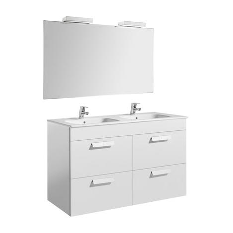 Pack Unik DEBBA 1200 meuble 4 tiroirs + miroir + applique - Blanc brillant