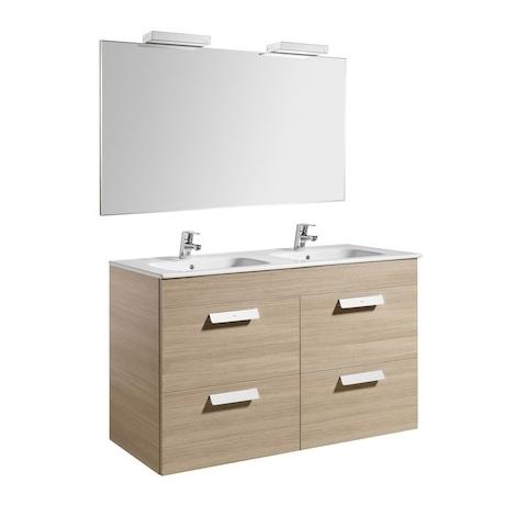Pack Unik DEBBA 1200 meuble 4 tiroirs + miroir + applique - Chêne texturé