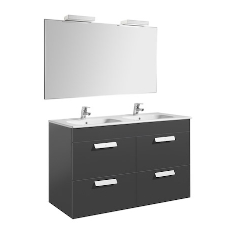 Pack Unik DEBBA 1200 meuble 4 tiroirs + miroir + applique - Gris anthracite