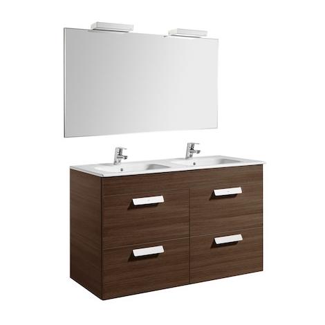 Pack Unik DEBBA 1200 meuble 4 tiroirs + miroir + applique - Wengé texturé