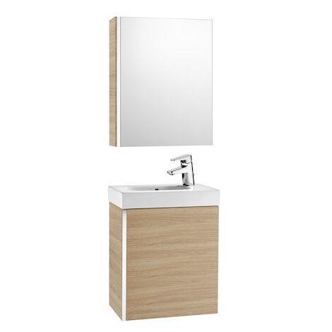 Pack Unik MINI 450 - lave-mains + miroir + armoire - Chêne texturé - Roca