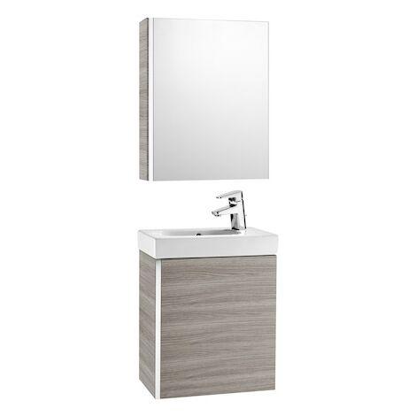 Pack Unik MINI 450 - lave-mains + miroir + armoire - Gris sable texture - Roca