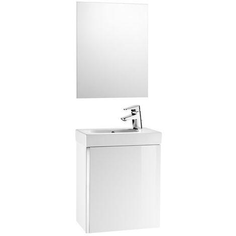 meuble lave mains miroir 45cm roca mini blanc brillant. Black Bedroom Furniture Sets. Home Design Ideas