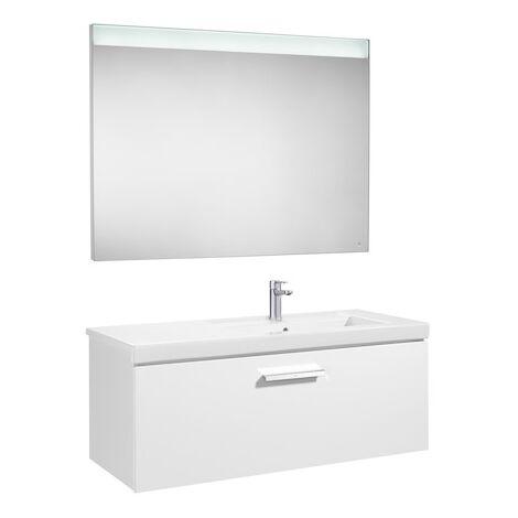 Pack Unik PRISMA 1100 meuble 1 tiroir lavabo à droite miroir LED - Gris