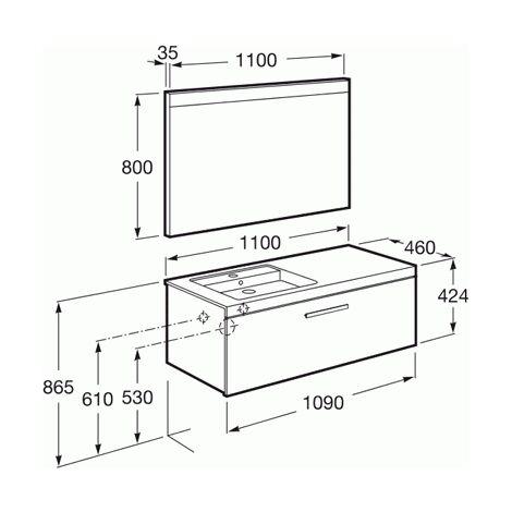 Pack Unik PRISMA 1100 meuble 1 tiroir lavabo à gauche miroir LED - Gris