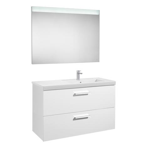 Pack Unik PRISMA 1100 meuble 2 tiroirs lavabo à droite miroir LED - Gris anthracite