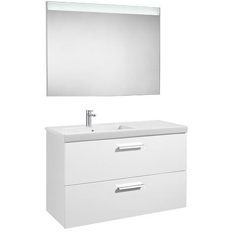 Pack Unik PRISMA 1100 meuble 2 tiroirs lavabo à gauche miroir LED - Gris anthracite