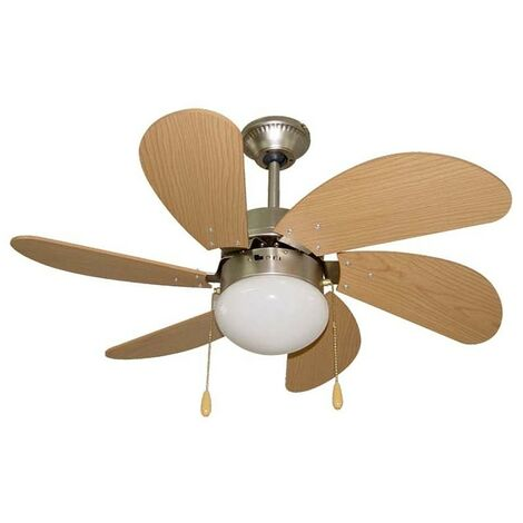 Pack Ventilador de LED y Mando a distancia color niquel.