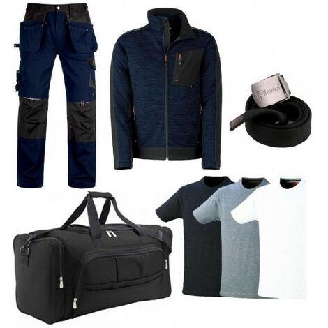 Pack Vittoria bleu: pantalon renforcé + blouson polaire + sac + ceinture + 3 T-shirts KAPRIOL - plusieurs modèles disponibles