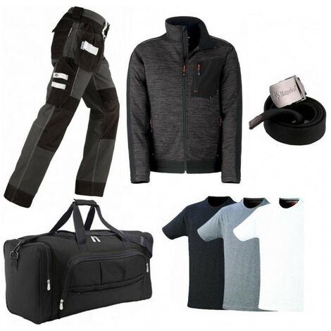 Pack Vittoria noir-gris: pantalon + blouson polaire + sac + ceinture + 3 T-shirts KAPRIOL (pantalon xxl - veste xxl) - Taille : Pantalon XXL - Veste XXL