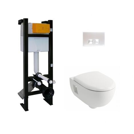 Pack WC Bâti-support Evo + Cuvette Prima+ ALLIA + Plaque Blanche