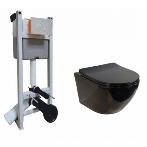 Pack WC Bâti-support Evo + Cuvette sans bride KELOS Noir Brillant + Plaque Blanche