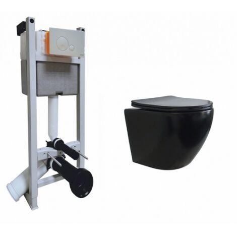 Pack WC Bâti-support Evo + Cuvette sans bride KELOS Noir Mat + Plaque Blanche