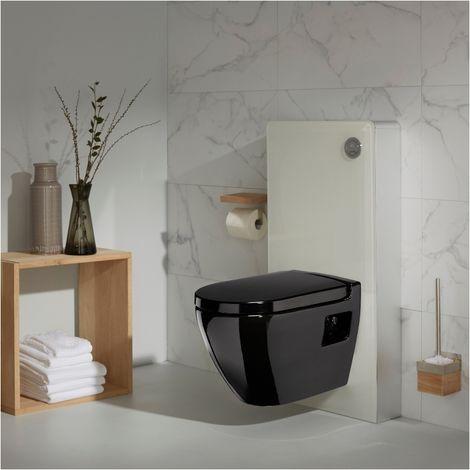 Pack wc - Bâti wc + cuvette wc noire - Façade en verre blanc