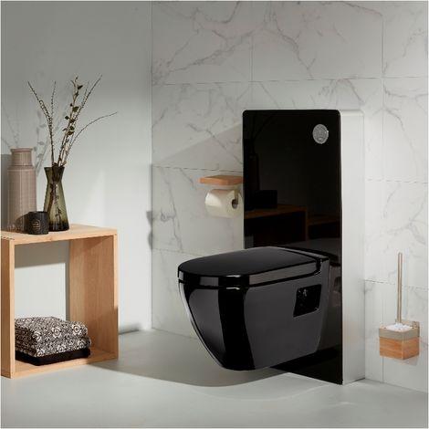 Pack wc - Bâti wc + cuvette wc smarta noire - Façade en verre noir