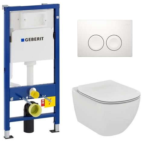 Pack WC Geberit duofix UP100 + Cuvette Ideal Standard Tesi Aquablade + Plaque de commande Delta21 chrome mat