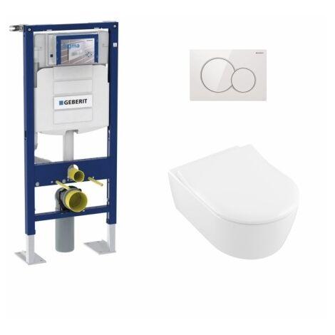 Pack WC Geberit UP320 + Cuvette AVENTO Villeroy & Boch + Plaque Blanche
