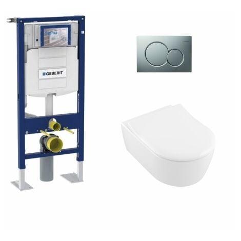 Pack WC Geberit UP320 + Cuvette AVENTO Villeroy & Boch + Plaque Chromé Brillant