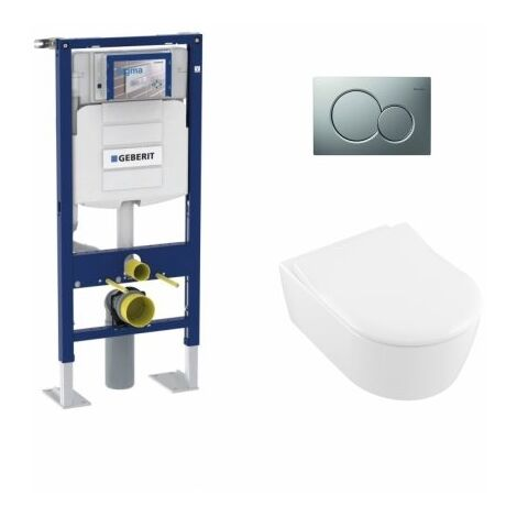 Pack WC Geberit UP320 + Cuvette AVENTO Villeroy & Boch + Plaque Chromé Mat