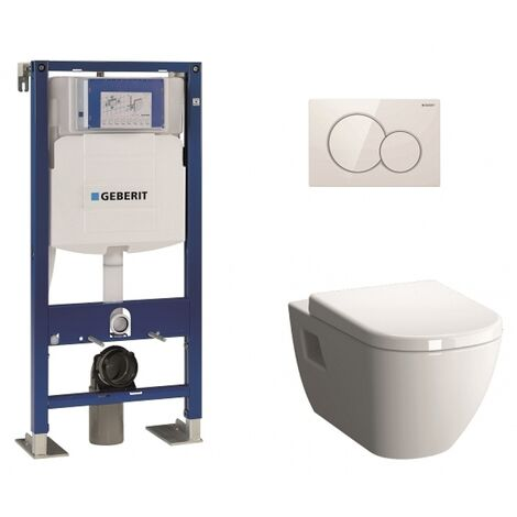 Pack WC Geberit UP320 + Cuvette D-Light Vitraflush 2.0 + Plaque Sigma blanche