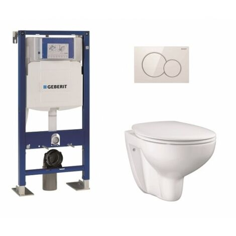Pack WC Geberit UP320 + Cuvette GROHE sans bride Bau Ceramic + plaque sigma blanche