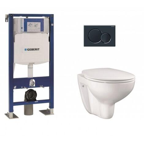 Pack WC Geberit UP320 + Cuvette GROHE sans bride Bau Ceramic + plaque sigma noire