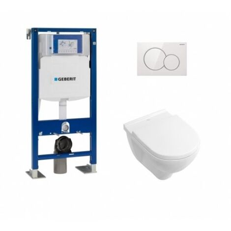 Pack WC Geberit UP320 + Cuvette O'Novo VILLEROY + Plaque Sigma blanche