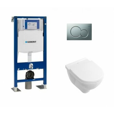 Pack WC Geberit UP320 + Cuvette O'Novo VILLEROY + plaque Sigma Chromé Mat