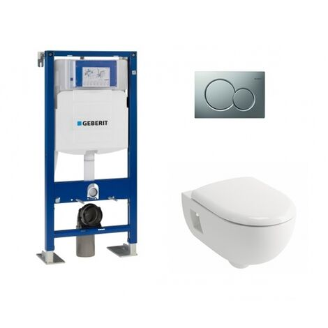 Pack WC Geberit UP320 + Cuvette Prima+ ALLIA + Plaque Sigma Chromé mat