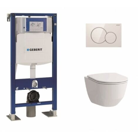 Pack WC Geberit UP320 + Cuvette sans bride Rimless + plaque sigma blanche