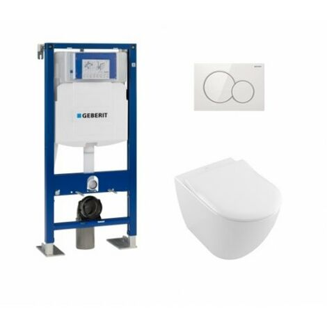 Pack WC Geberit UP320 + Cuvette VILLEROY ET BOCH Subway 2.0 + Plaque Sigma blanche