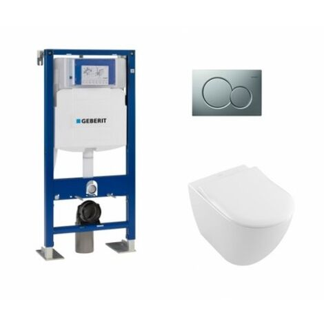 Pack WC Geberit UP320 + Cuvette VILLEROY ET BOCH Subway 2.0 + plaque Sigma Chromé Mat