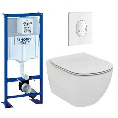 Pack wc grohe - cuvette sans bride TESI ideal standard - plaque blanche