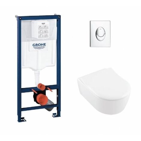 Pack WC Grohe Rapid SL + Cuvette AVENTO Villeroy & Boch + Plaque Skate Air