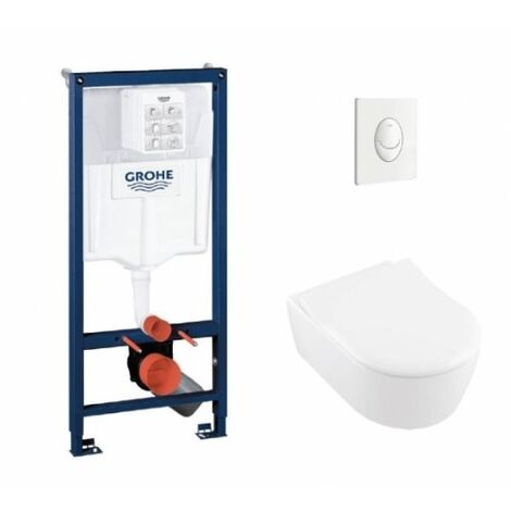 Pack WC Grohe Rapid SL + Cuvette AVENTO Villeroy & Boch + Plaque Skate Air Blanche