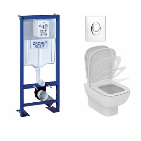 Pack WC Grohé Rapid SL + Cuvette KHEOPS Aquablade + Plaque Chromé