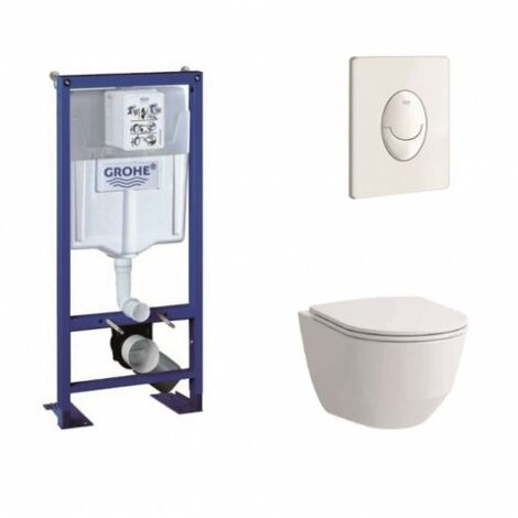 Pack WC Grohe Rapid SL + Cuvette Rimless Laufen Pro + Plaque blanche