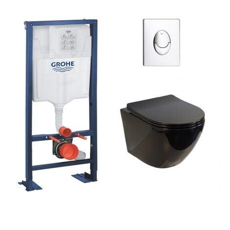 Pack WC Grohe Rapid SL + Cuvette sans bride KELOS Noir Brillant + Plaque Skate Air Chromé