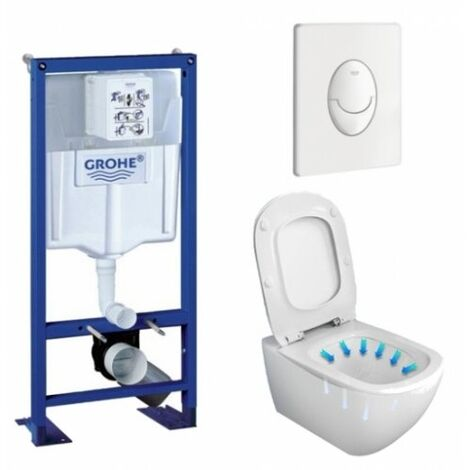 Pack WC Grohe Rapid SL + Cuvette Tesi AquaBlade Ideal Standard + Plaque blanche