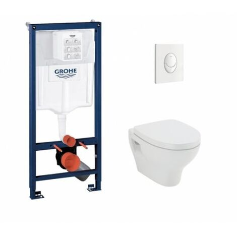 Pack WC Grohé Rapid SL Mural + Cuvette POP2 + Plaque Blanche