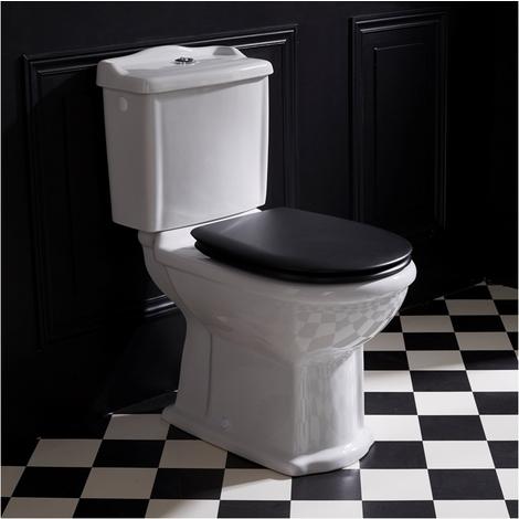 Pack WC rétro à poser en céramique avec abattant noir