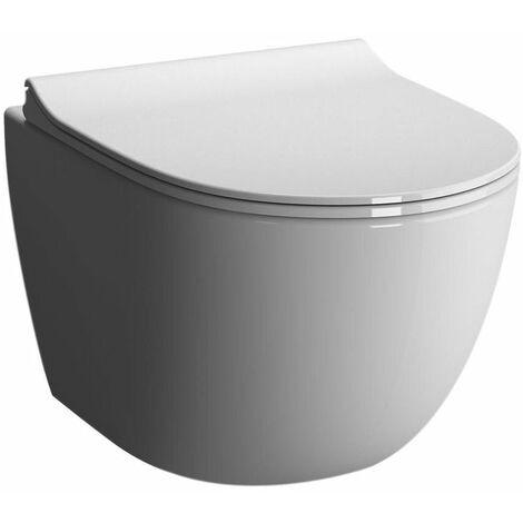 Pack WC suspendu ALTERNA Daily O2 sans bride avec abattant recouvrant Slim frein de chute declipsable, Ref.7748C003-6115