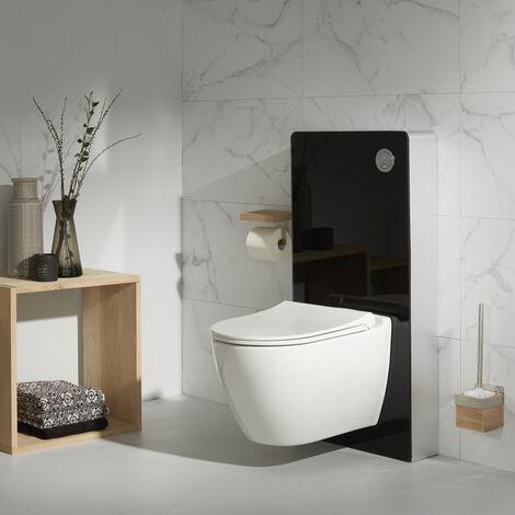 pack wc suspendu avec bati support en verre noir et. Black Bedroom Furniture Sets. Home Design Ideas