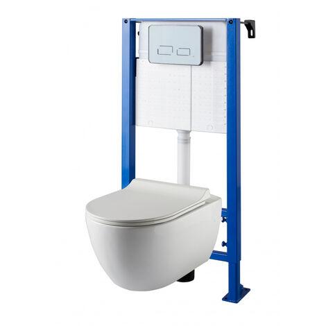 Pack WC suspendu avec bâti universel à commande sensitive + cuvette design sans bride