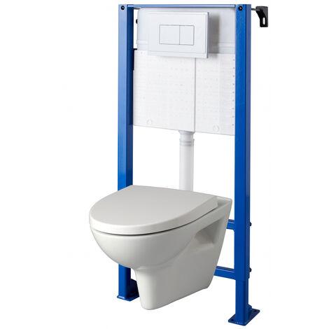 Pack WC suspendu avec bati universel autoportant + cuvette sans bride parvis