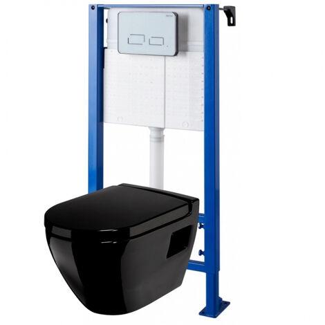 Pack wc suspendu avec cuvette noire et plaque de commande sensitive blanche