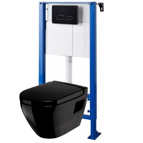 Pack wc suspendu avec cuvette noire et plaque de commande sensitive noire