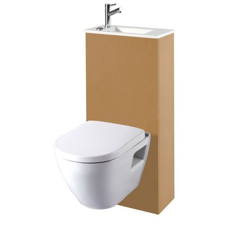 pack wc suspendu avec wc gain de place et lave mains int gr. Black Bedroom Furniture Sets. Home Design Ideas