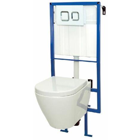 """main image of """"Pack WC suspendu AZZILY avec cuvette en porcelaine - Mécanisme 3/6L - Alimentation d'eau silencieuse - Blanc"""""""